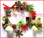 "Bracciale ""Fufufangel Natale! Angelo angioletto fimo cernit rosso verde"