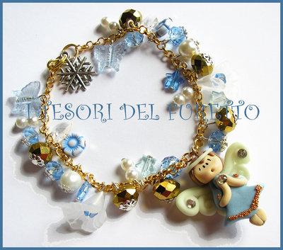 """Bracciale """"Fufuangel di Natale"""" angelo angioletto fimo cernit idea regalo azzurro"""