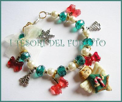 """Bracciale """"Fufufangel di Natale"""" angelo angioletto fimo cernit idea regalo  rosso"""