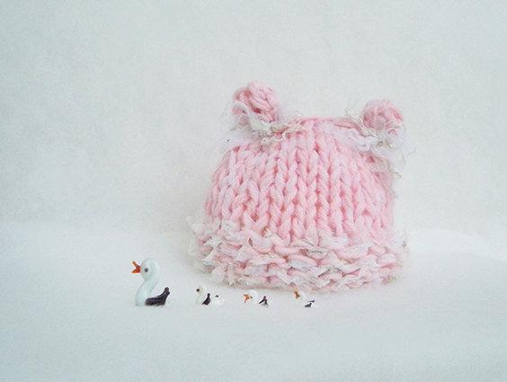 Cappellino neonata fatto a mano Accessori neonato Orsetta romantica