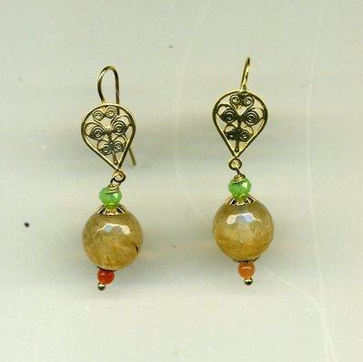 Orecchini pendenti con quarzo citrino