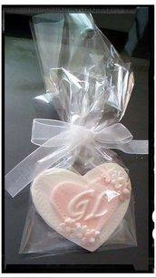 segnaposto, cuore di zucchero personalizzabile per matrimonio