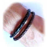 Bracciale uomo intreccio braccialetto treccia pelle semplice lucido bronzo