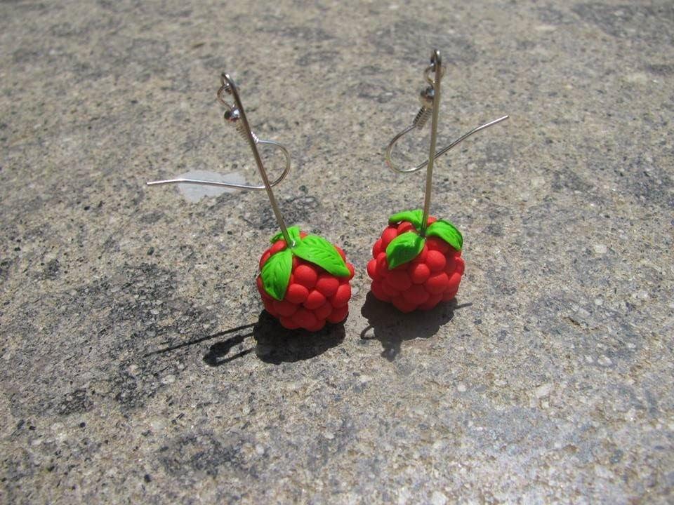 Orecchini pendenti Lampone rosso