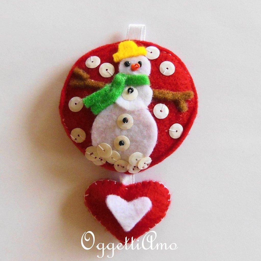 Addobbo PUPAZZO DI NEVE, una decorazione per l'albero di Natale che è' un'idea regalo perfetta per i vostri cari!