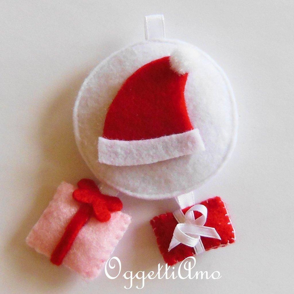 Addobbo BABBO DI NATALE CON REGALINI, la decorazione in feltro per l'albero di Natale!