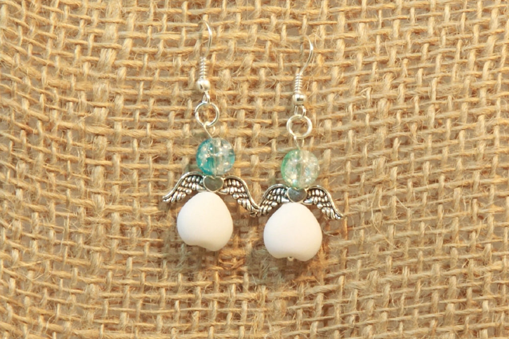 Orecchini angioletto bianchi e azzurri