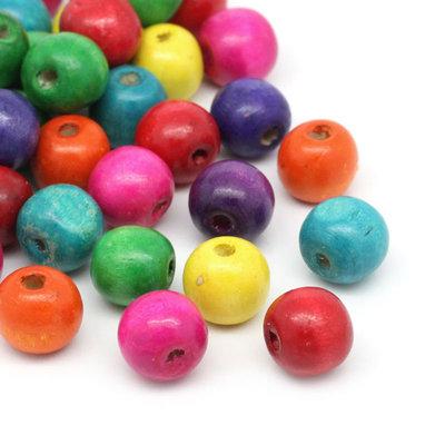 100 perle in legno 14x13 mm  colori mix  in prenotazione-