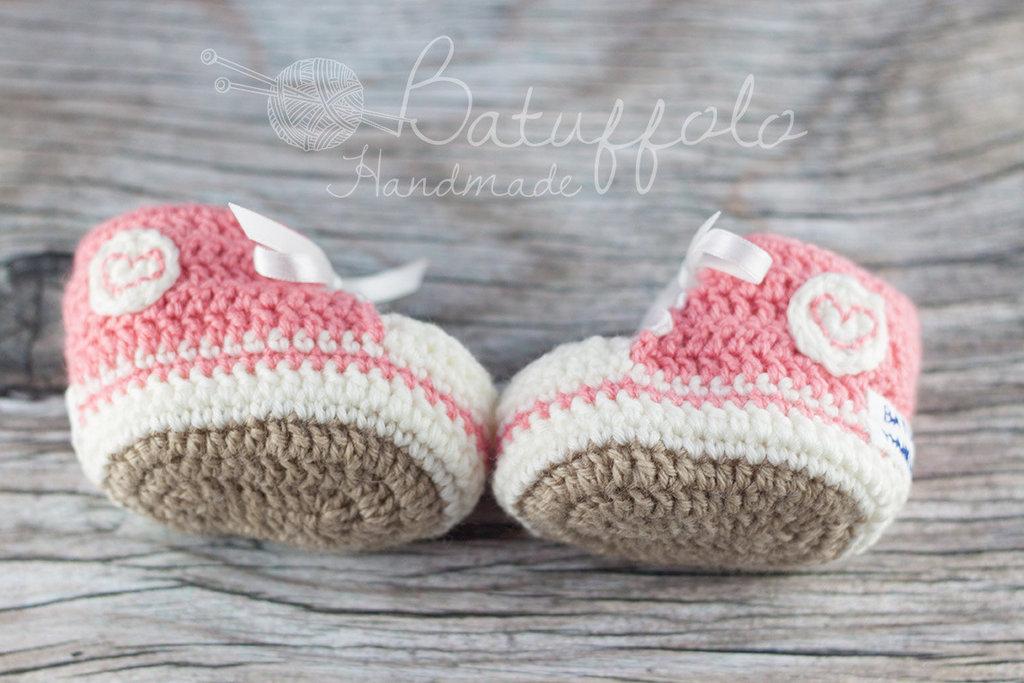 Scarpine da ginnastica in lana e misto-lana ad uncinetto per neonati - Rosa