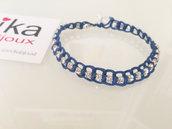 Bracciale tennis Chain blu con catena strass incolore