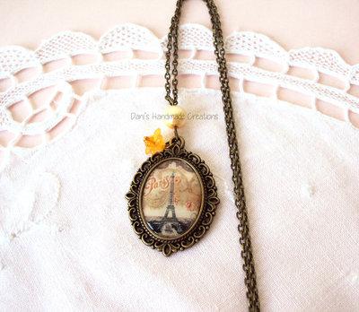 Collana cammeo in bronzo con immagine di Parigi vintage