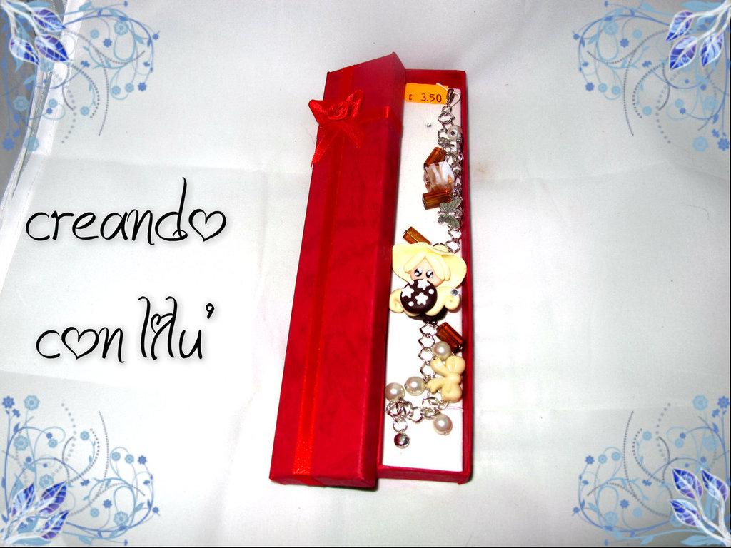 bracciale ciondolo in fimo folletto vaniglia e biscotto pan di stelle completo di scatolo regalo
