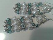 orecchini perle cerate e mezzi cristalli