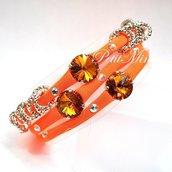 Bracciale in lycra elastica,rivoli swarovski,charm,arancione
