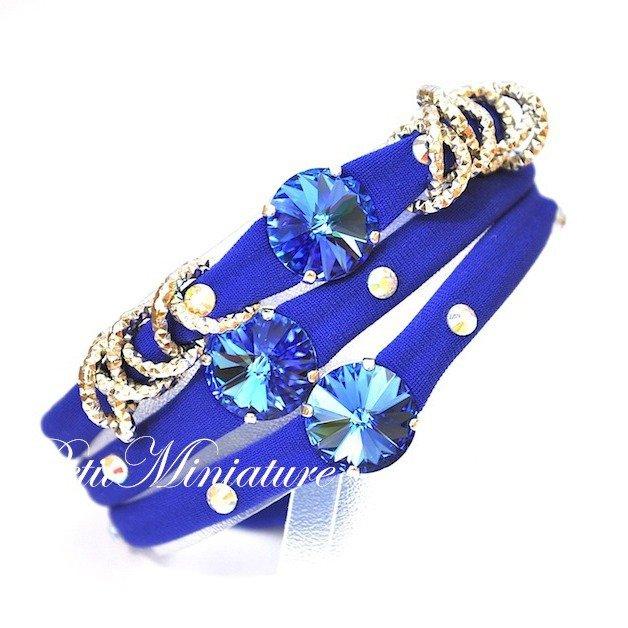 Bracciale in lycra elastica,rivoli swarovski,charm,blu fluo