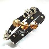 Bracciale in lycra elastica,rivoli swarovski,charm,marrone