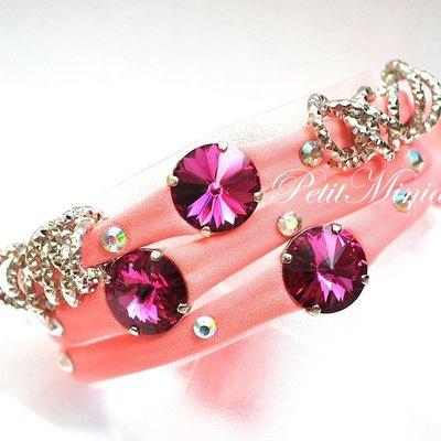 Bracciale in lycra elastica,too late,rivoli swarovski,charm,rosa corallo