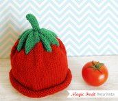 Cappellino in Lana per bimbo e bimba, Cappellino Pomodoro, Baby Magic Fruit Hats!