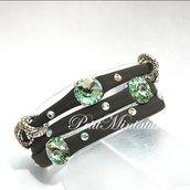 Bracciale in lycra elastica,rivoli swarovski,charm,verde militare