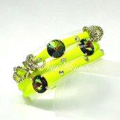 Bracciale in lycra elastica,rivoli swarovski,charm,giallo fluo