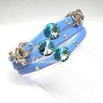 Bracciale in lycra elastica,rivoli swarovski,charm,azzurro