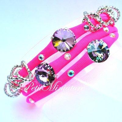 Bracciale in lycra elastica,rivoli swarovski,charm,rosa fluo