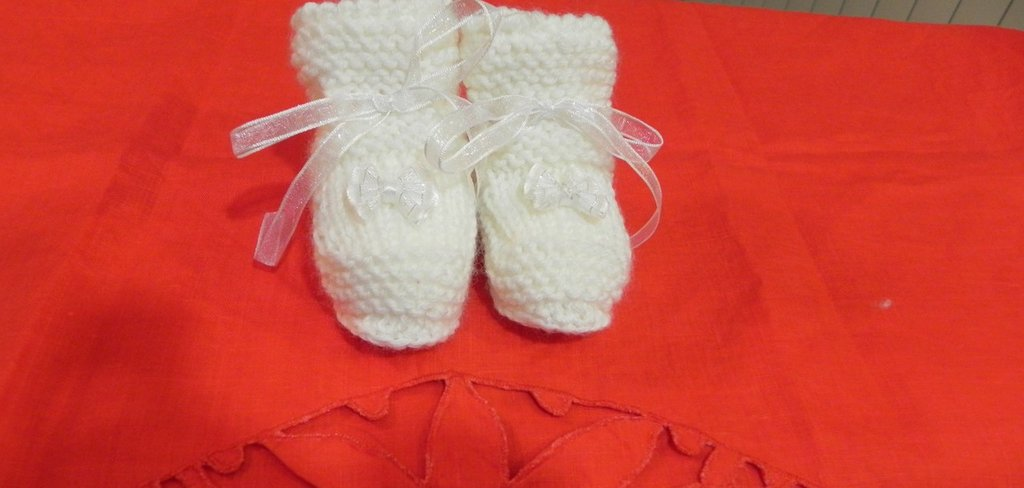"""Scarpine scarpe neonato fatte a mano - """"Lana Gatto"""" ferri-uncinetto"""