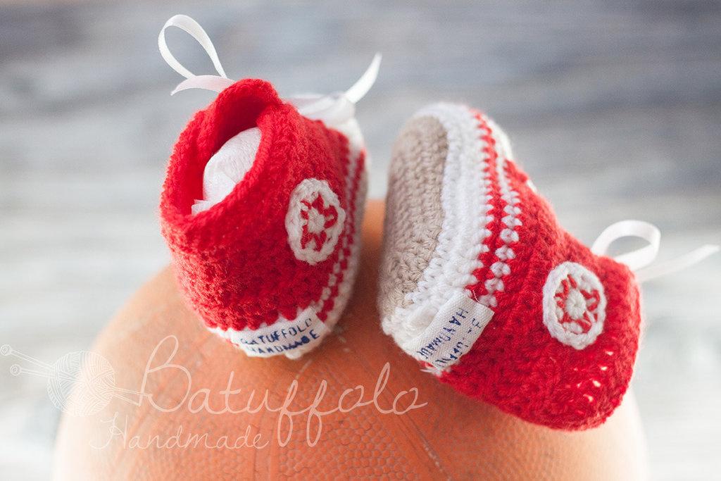 Scarpine da ginnastica in lana e misto-lana ad uncinetto per neonati - Rosso
