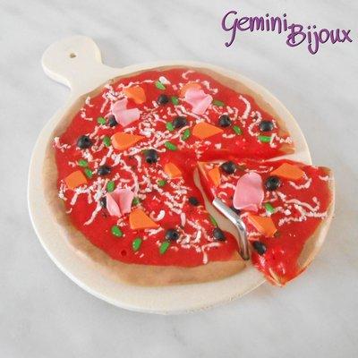 """Tagliere appendi presina """"Pizza"""" in legno e fimo"""