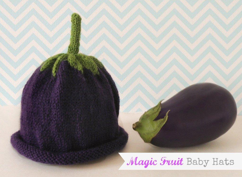 Cappello Melanzana in Lana per Bimba, Magic Fruit Hats