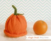Cappello Lana Arancia per bimbo e bimba, Magic Fruit Hats, Cappellino lana arancione