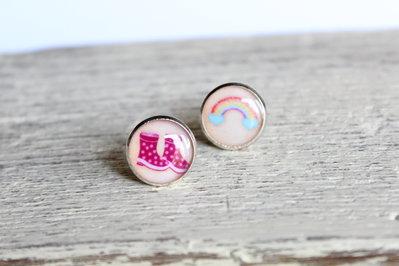 Orecchini in resina - arcobaleno stivali rosa pioggia