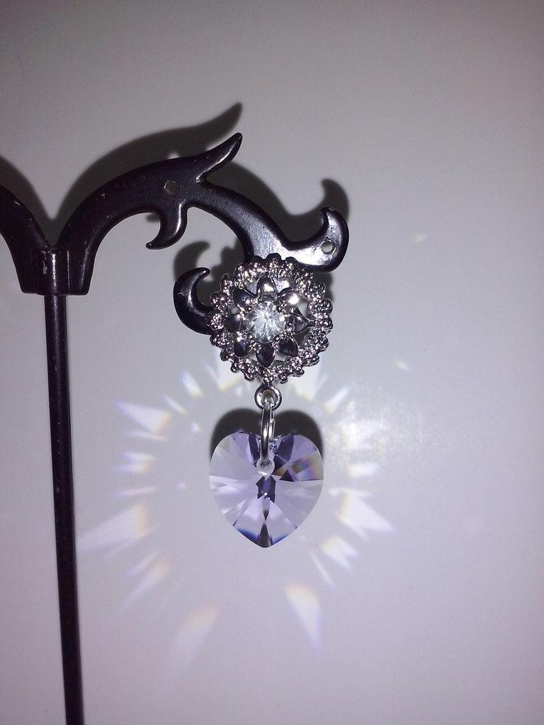 Orecchini swarovski cuore viola