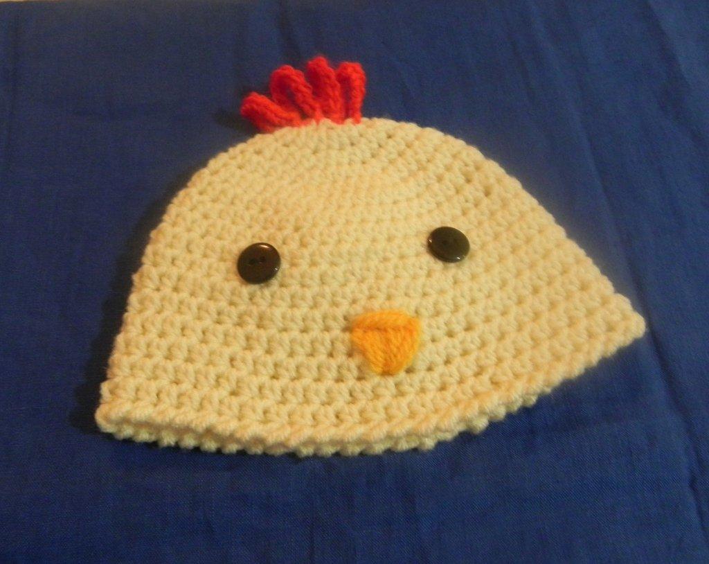 Cappellino neonato fatto a mano galletto