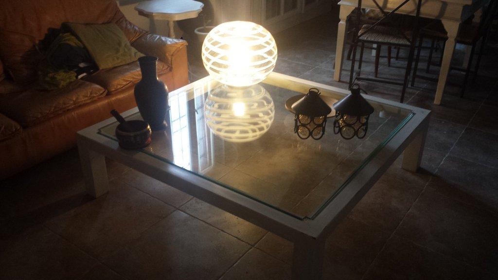 shabby chic tavolo basso in vetro