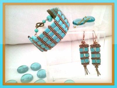 Bracciale a fascia + Orecchini Macramè con perline Tila Beads turchesi, Filo marrone