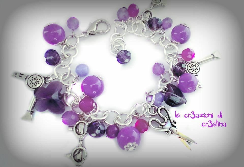 Bracciale charms argento tibetano con perle e cristalli viola