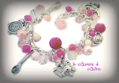 Bracciale charms argento tibetano tè, teiera, cucchiaino tazzina, perle e cristalli rosa