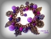 Bracciale viola con charms color bronzo a forma di foglia, gufetto, fiore, girasole