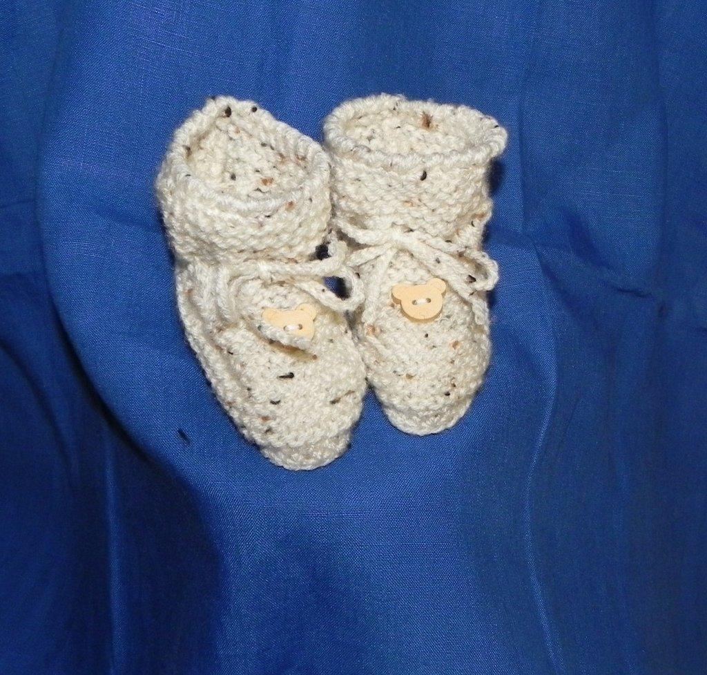 SCARPINE/SCARPE neonato fatte a mano beige brezzolato