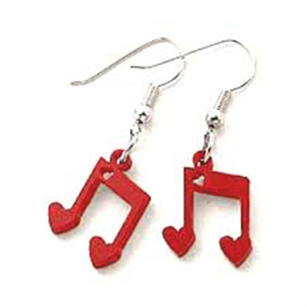 PAIO ORECCHINI PLEXIGLASS - note musicali in rosso e cuoricini -
