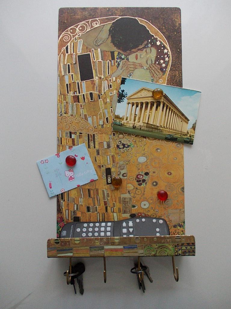 portachiavi appendichiavi Klimt il bacio  organizer lavagna portacellulare