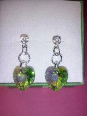 Swarovski orecchini verdi cuore