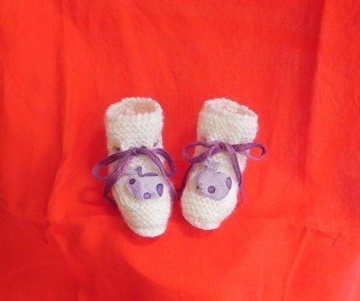 """SCARPINE neonato fatte a mano in lana """"Gatto"""" ferri +  uncinetto"""