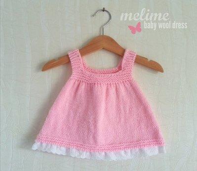 Vestitino in lana e pizzo San Gallo per bimba 0-3 mesi, Vestito Bimba rosa