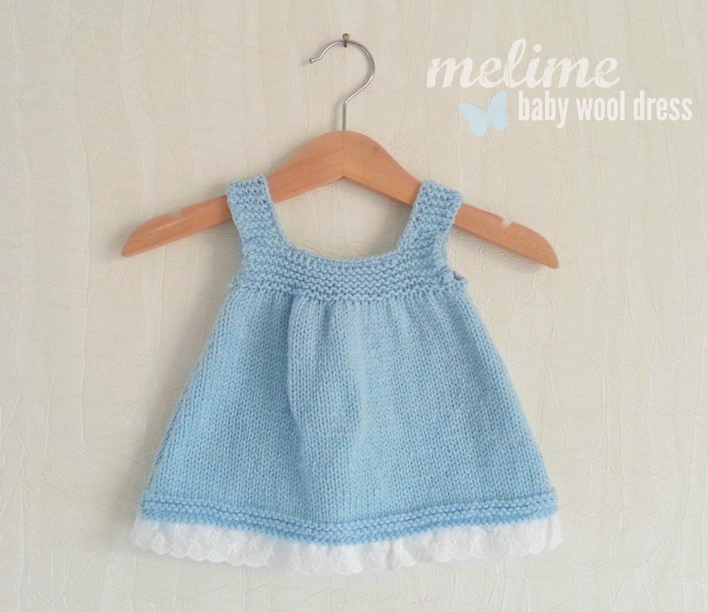 Vestitino  in lana e pizzo San Gallo per bimba 0-3 mesi, Vestito bimba azzurro