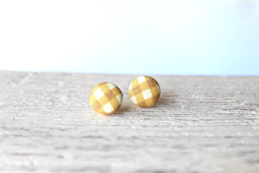 Orecchini bottoni - fantasia plaid giallo caldo fabric-covered button earrings