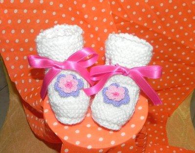 SCARPINE in lana neonato fatte a mano ferri-uncinetto