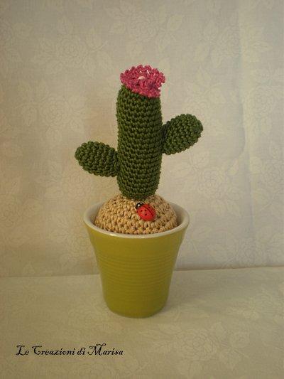 cactus uncinetto con vasetto