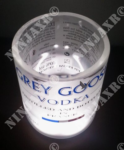 3 Bicchieri Bottiglia Vodka Grey Goose Old Fashion Led